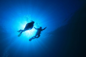 divers pointing istock